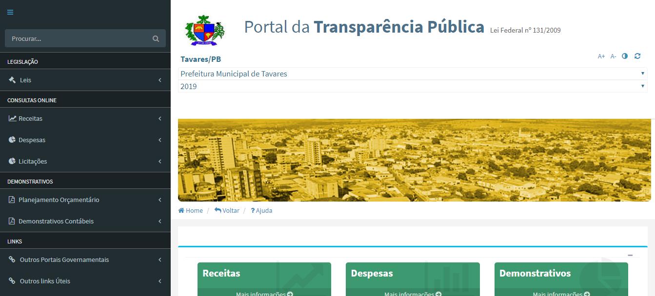 Prefeitura Municipal de Tavares Tavares PB Portal da Transparência Pública